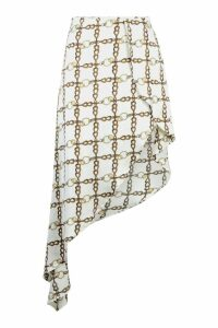 Womens Chain Print Satin Asymmetric Skirt - white - 10, White
