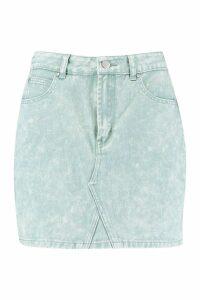 Womens Acid Wash Denim Mini Skirt - green - 12, Green