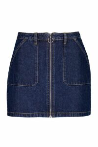Womens Zip Front Denim mini Skirt - blue - 10, Blue