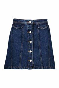 Womens Button Front Denim Mini Skirt - blue - 10, Blue