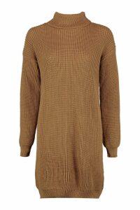 Womens Roll Neck Jumper Dress - beige - S, Beige