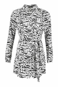 Womens Belted Tiger Print Woven Shirt Dress - black - 14, Black