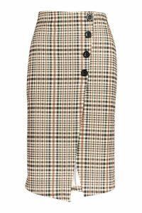 Womens Checked Button Front Split Midi Skirt - black - 10, Black