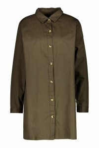 Womens Oversized Denim Shirt Dress - green - 10, Green
