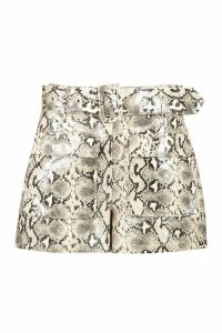 Womens Snake Print Leather Look Belted Pocket Shorts - beige - 14, Beige