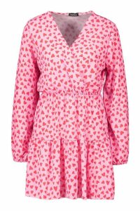 Womens Woven Heart Print Wrap Dress - Pink - 14, Pink