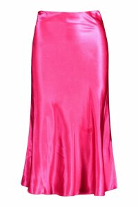 Womens Satin Bias Cut Slip Midi Skirt - Pink - 6, Pink