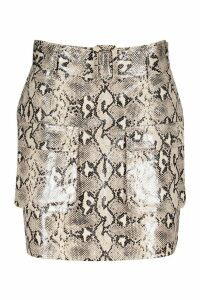 Womens Snake Print Leather Look Belted Cargo Mini Skirt - beige - 14, Beige