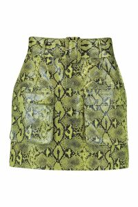 Womens Snake Print Leather Look Belted Cargo Mini Skirt - green - 12, Green