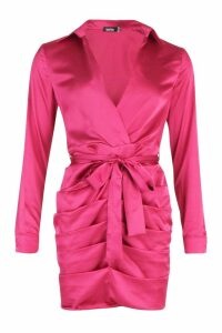 Womens Satin Ruched Shirt Dress - pink - 10, Pink