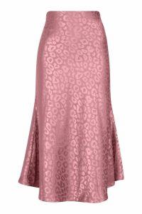 Womens Leopard Print Satin Bias Cut Slip Midi Skirt - purple - M, Purple