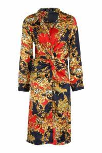 Womens Satin Knot Front Chain Print Midi Dress - navy - L, Navy