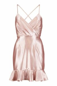 Womens Satin Wrap Front Ruffle Hem Bodycon Mini Dress - pink - 10, Pink