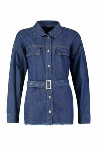 Womens Belted Denim Shirt - blue - 12, Blue