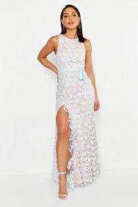 Womens Lace Ruffle Split Maxi Dress - blue - 10, Blue