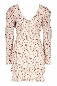 Womens Rouched Sleeve Floral Tea Dress - cream - 16, Cream