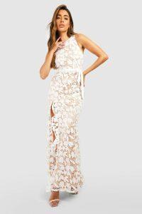 Womens Lace Ruffle Split Maxi Dress - white - 16, White