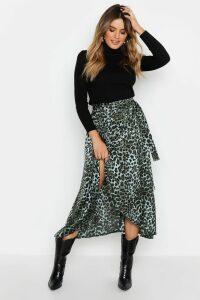 Womens Satin Green Leopard Wrap Midaxi Skirt - 18, Green