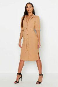 Womens Puff Sleeve Utility Midi Shirt Dress - beige - 16, Beige