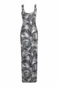 Womens Petite Palm Print Maxi Dress - black - 6, Black