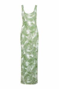 Womens Petite Palm Print Maxi Dress - green - 6, Green