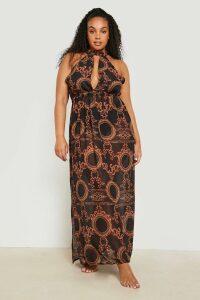 Womens Plus Gemma Collins Chain Print Maxi Beach Dress - black - 20, Black
