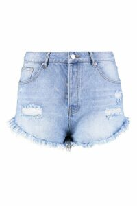 Womens Plus Fray Hem Cheeky Denim Short - blue - 20, Blue