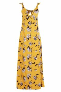 Womens Petite Floral Tie Back Woven Maxi Dress - orange - 6, Orange