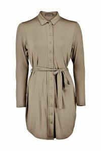 Womens Button Through Collar Shirt Dress - green - 16, Green