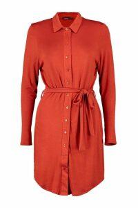 Womens Button Through Collar Shirt Dress - orange - 16, Orange