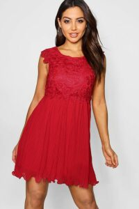 Womens Boutique Corded Lace Pleated Skater Dress - red - 16, Red