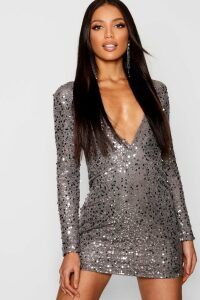 Womens Rose Deep Plunge Sequin Bodycon Dress - grey - 14, Grey