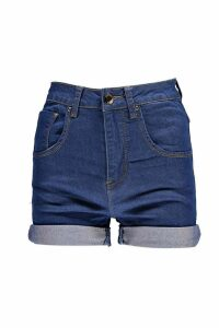Womens High Waisted Turn Up Denim Shorts - blue - 10, Blue