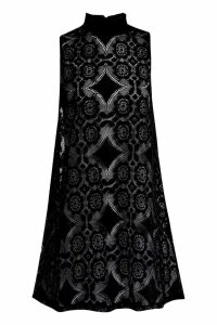 Womens Lace High Neck Shift Dress - black - 12, Black