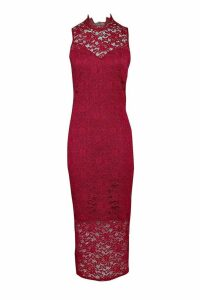 Womens Boutique Lace High Neck Bodycon Midi Dress - red - 8, Red