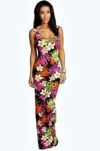 Womens Tropical Scoop Neck Maxi Dress - multi - 12, Multi
