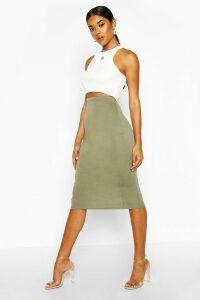 Womens Basic Jersey Midi Skirt - green - 8, Green