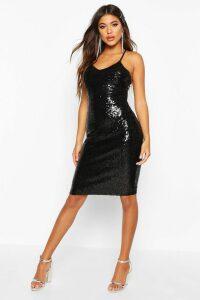 Womens Sexy Sequin Strappy Midi Dress - black - 14, Black