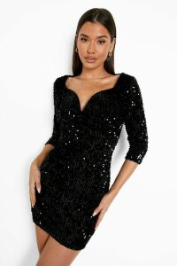 Womens Sequin Bodycon Dress - black - 14, Black