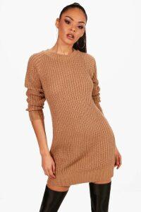 Womens Soft Knit Jumper Dress - beige - M, Beige