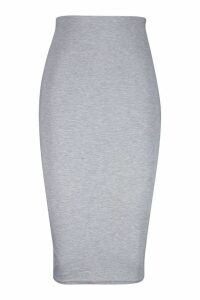 Womens Basic Jersey Midi Skirt - grey - 8, Grey