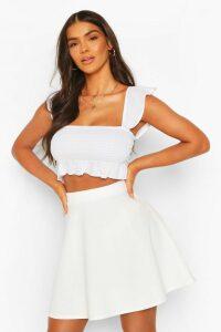Womens Basic Fit And Flare Skater Skirt - white - 10, White