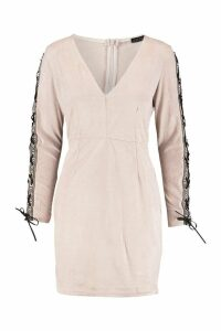 Womens Embroidered Tape Suedette Bodycon Dress - Pink - M, Pink