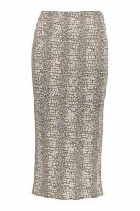 Womens Tonal Croc Print Midaxi Skirt - beige - 6, Beige