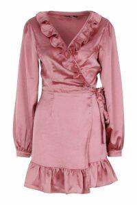 Womens Satin Frill Wrap Skater Dress - pink - 12, Pink