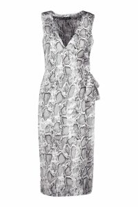 Womens Satin Snake Print Wrap Midi Dress - grey - 8, Grey