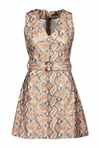Womens Snake Print Faux Leather Belted Dress - beige - 12, Beige