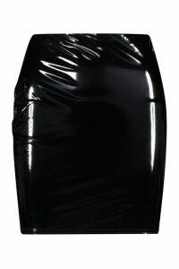 Womens Vinyl Mini Skirt - black - 14, Black