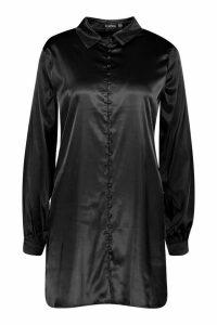 Womens Satin Self-Fabric Button Shirt Dress - black - 14, Black