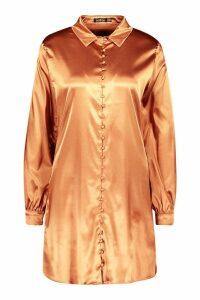 Womens Satin Self-Fabric Button Shirt Dress - brown - 14, Brown